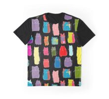 Texture with colorful cats with curved tails. Can be used for textile, website background, book cover, packaging. Graphic T-Shirt