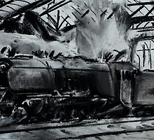 Steam Train Snow Hill Station Birmingham England Charcoals by JamesPeart