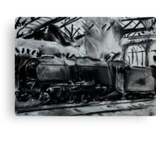 Steam Train Snow Hill Station Birmingham England Charcoals Canvas Print