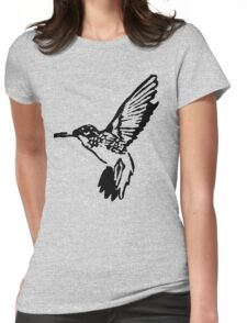 HUMMINGBIRD - BLACK AND WHITE Womens Fitted T-Shirt