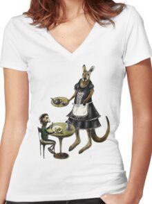 Kangaroo cafe Women's Fitted V-Neck T-Shirt