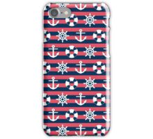 Sailor Stripes Ahoy Red Blue & White iPhone Case/Skin