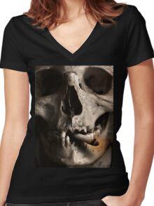 Dead Skull Smoking Women's Fitted V-Neck T-Shirt