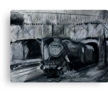 Steam Train Tamworth Station Staffordshire England Charcoals Canvas Print