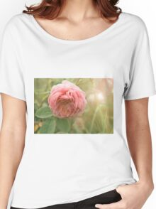 Close up photo of a pink rose Women's Relaxed Fit T-Shirt