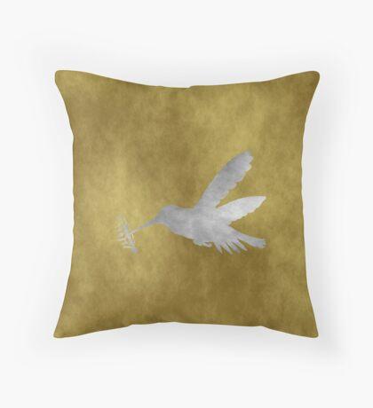 Grunge Hummingbird Throw Pillow