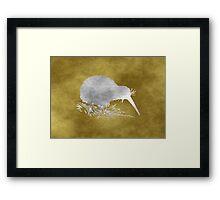 Grunge Kiwi Bird Framed Print