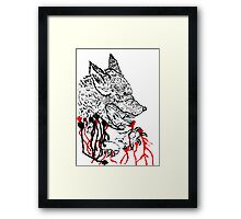 Angry Wolf Sketch Framed Print