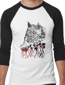 Angry Wolf Sketch 2 Men's Baseball ¾ T-Shirt