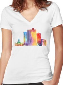 Fort Worth landmarks watercolor poster Women's Fitted V-Neck T-Shirt