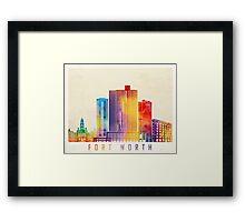 Fort Worth landmarks watercolor poster Framed Print