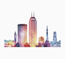 Indianapolis landmarks watercolor poster Kids Tee