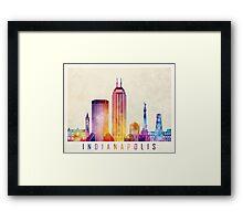 Indianapolis landmarks watercolor poster Framed Print