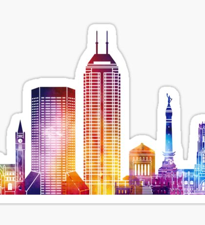 Indianapolis landmarks watercolor poster Sticker