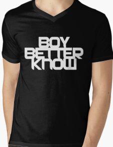 Boy Better Know - White On Black Mens V-Neck T-Shirt