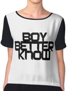 Boy Better Know - Black On White Chiffon Top