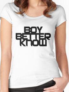 Boy Better Know - Black On White Women's Fitted Scoop T-Shirt