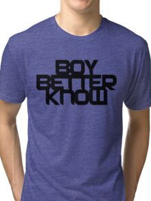 Boy Better Know - Black On White Tri-blend T-Shirt