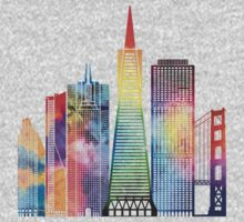 San Francisco landmarks watercolor poster One Piece - Long Sleeve