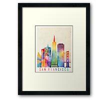 San Francisco landmarks watercolor poster Framed Print