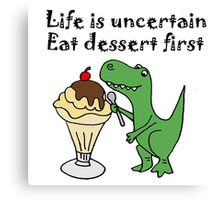 Funny T-Rex Eating Ice Cream Canvas Print