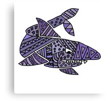 Cool Artistic Blue Shark Patterns Abstract Canvas Print