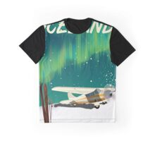 Iceland vintage style ski plane poster Graphic T-Shirt