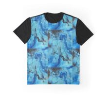 Arcylic pouring art - blue, black & silver Graphic T-Shirt