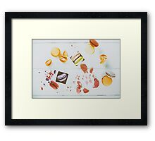 French Macaroons With Tangerine Slices On Wood Table Framed Print