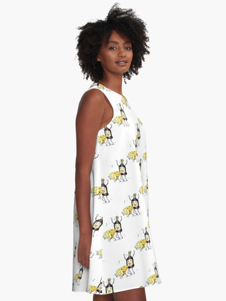Cheese and Whine A-Line Dress by Jiggy Creationz on Redbubble