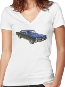 Black 1967 Pontiac GTO Muscle Car Women's Fitted V-Neck T-Shirt