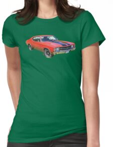 Red 1971 chevrolet Chevelle SS Muscle Car Womens Fitted T-Shirt