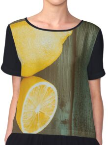 Fresh Yellow Lemons On Wooden Table Chiffon Top
