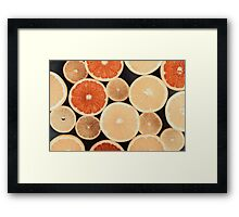 Orange, Grapefruit And Lemon Citrus Fruit Slices Framed Print