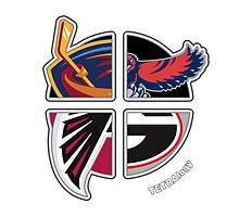 Altanta Pro Sports TETRAlogy! Atlanta Falcons (NFL), Atlanta Hawks (NBA), Atlanta Thrashers (NHL) and University of Georgia Bulldogs by Sochi