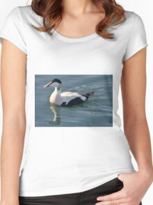 Eider duck entering Carradale Harbour Women's Fitted Scoop T-Shirt