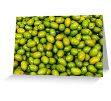 Pile of green olives Greeting Card