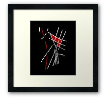 Black, white and red lines Framed Print