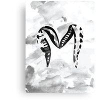 Watercolour Letter M Alphabet textured Canvas Print