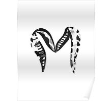 Letter M Alphabet Abstract Watercolour white Poster