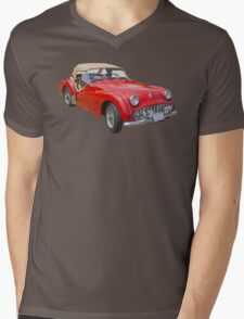 1957 Triumph TR3 Convertible Sports Car Mens V-Neck T-Shirt