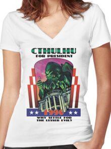 Retro CTHULHU FOR PRESIDENT 1996 T-Shirt Women's Fitted V-Neck T-Shirt