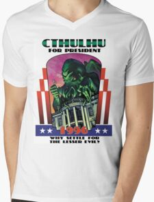 Retro CTHULHU FOR PRESIDENT 1996 T-Shirt Mens V-Neck T-Shirt