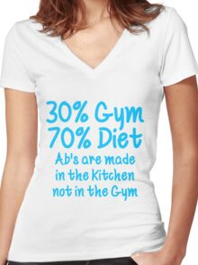 30 Percent Gym 70 Percent Diet Sky Blue Print Women's Fitted V-Neck T-Shirt