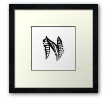 Letter N Alphabet Abstract Watercolour white Framed Print