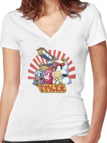 Samurai Pizza Caaaats! Women's Fitted V-Neck T-Shirt