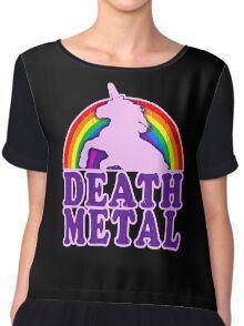 FUNNY DEATH METAL UNICORN RAINBOW Chiffon Top