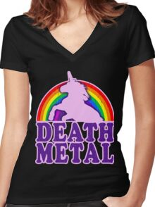 FUNNY DEATH METAL UNICORN RAINBOW Women's Fitted V-Neck T-Shirt