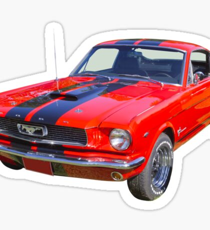 Red 1966 Ford Mustang Fastback Sticker