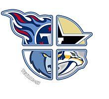 Tennessee Pro Sports TETRAlogy! Titans, Predators, Grizzlies and Vanderbilt University Commodores by Sochi